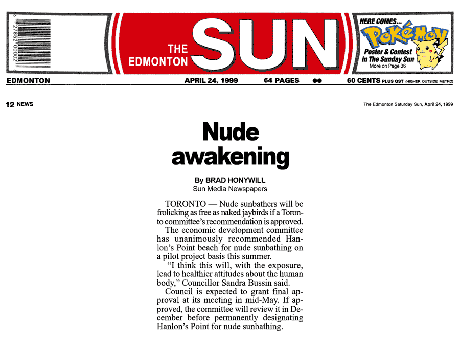 Edmonton Sun 1999-04-24 - City committee OKs Simm's proposal for CO-zone at Hanlan's Point